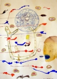 Wayne Barker, Blue Lips, watercolours